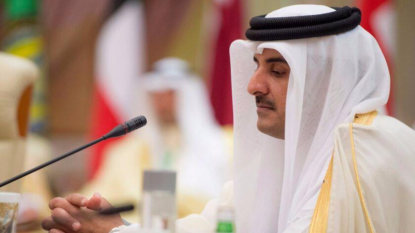 Qatar's emir, Sheik Tamim bin Hamad al Thani, attends the opening session of the Gulf Cooperation Council summit in Riyadh, Saudi Arabia, on May 21, 2017.