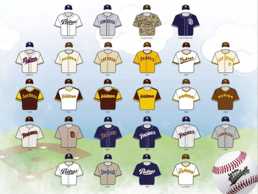 All 44 La Jolla Youth baseball teams will wear one of the above San Diego Padres jerseys.
