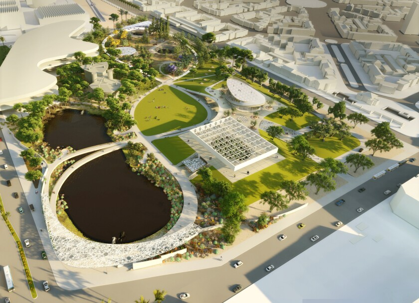 An overhead rendering of the proposed redesign of the La Brea Tar Pits by Weiss/Manfredi