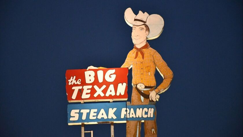 The Big Texan Steak Ranch, Amarillo, Texas. If you can eat a 72-ounce steak in 60 minutes, it's free