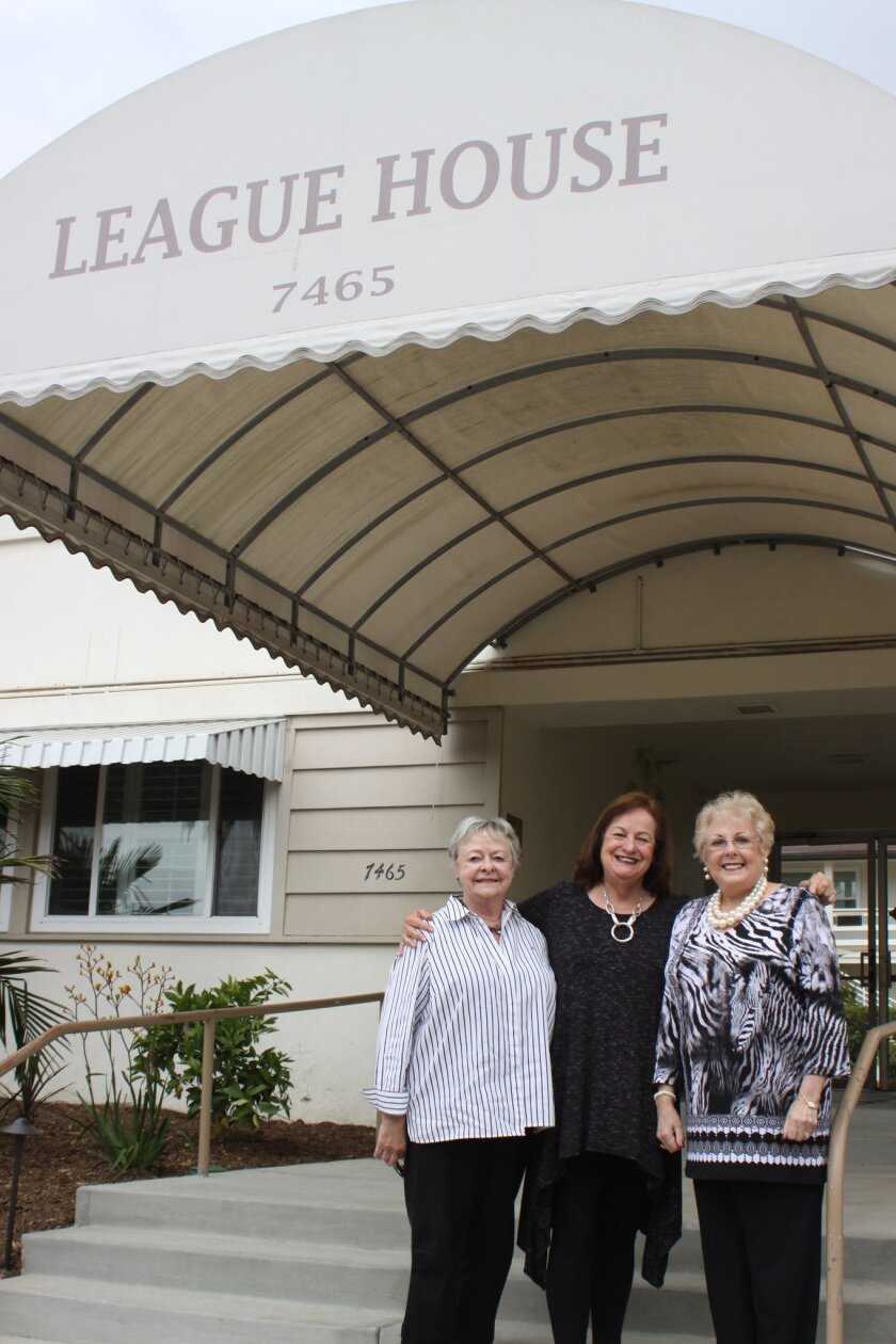 Social Service League of La Jolla past president Lois Stanton, League House manager Ellen Seaborn and SSL past president Meredith Fedderson in front of the League House on Olivetas Avenue.