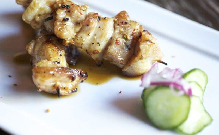 Grilled chicken yakitori at Gaijin Noodle + Sake House.