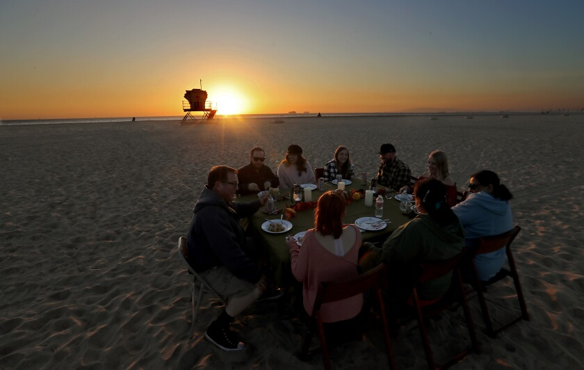 Thanksgiving on the sand at Bolsa Chica State Beach