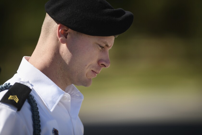 FILE - In this Sept. 27, 2017 file photo, Army Sgt. Bowe Bergdahl leaves a motions hearing during a lunch break in Fort Bragg, N.C. A military court has agreed to hear an appeal by Bergdahl, a U.S. Army soldier who left his post in Afghanistan and was held prisoner by the Taliban for five years. The Fayetteville Observer reported Thursday, Nov. 7, 2019 that the court will examine whether statements by President Donald Trump and the late U.S. Sen. John McCain unfairly influenced Bergdahl's trial. (Andrew Craft/The Fayetteville Observer via AP)