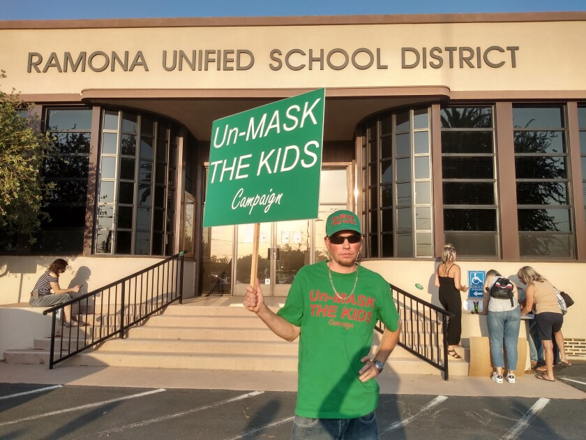 """Ramona parent Kyle Gammon runs an """"Unmask the Kids"""" campaign that advocates for masks being optional at schools."""