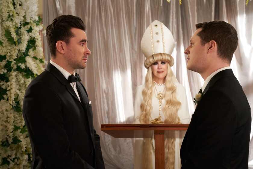 "Papal mama: Dan Levy, Catherine O'Hara and Noah Reid in Season 6 of ""Schitt's Creek."""