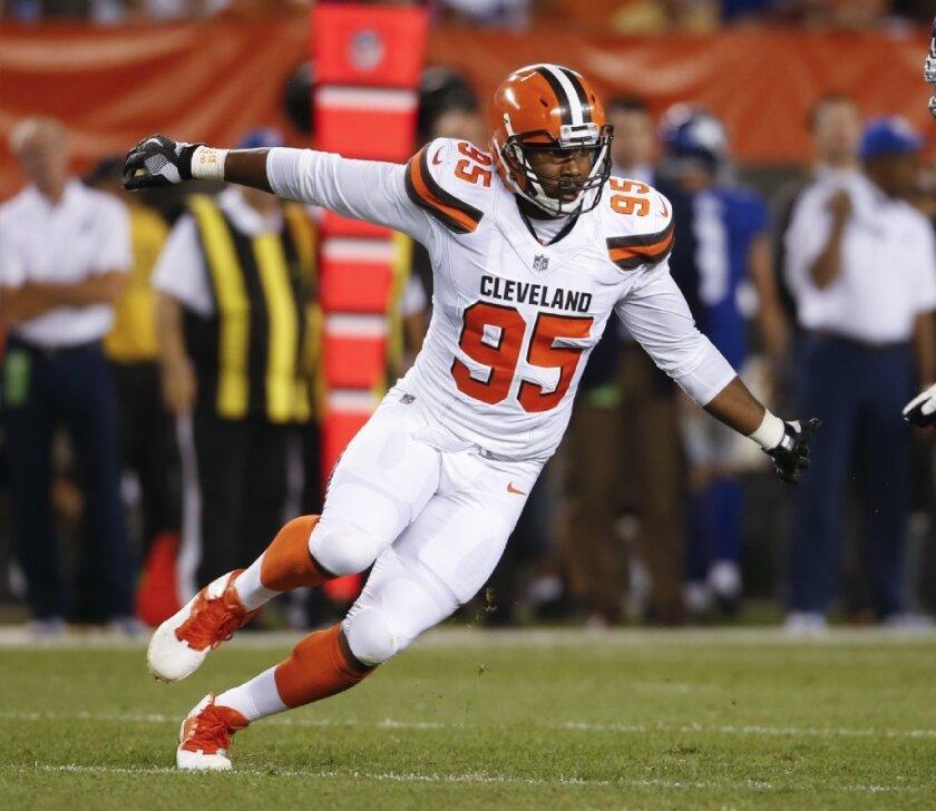 Browns defensive end Myles Garrett on a pass rush.