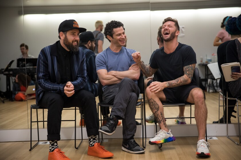 """The Wrong Man"" writer Ross Golan, left ,  director Thomas Kail and choreographer Travis Wall"