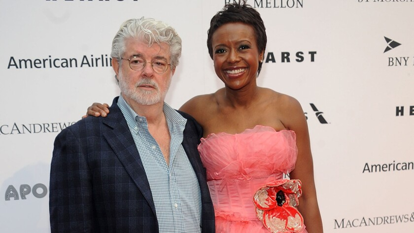 L.A. is vying for George Lucas' art collection. That's the Jedi Master, above, with his wife, businesswoman Mellody Hobson, at the Apollo Theater Spring Gala in New York earlier this week.
