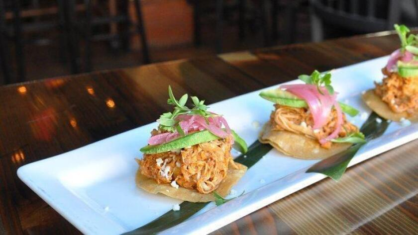 Tinga tostadas at The Blind Burro in the East Village.