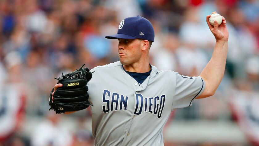 San Diego Padres starting pitcher Clayton Richards works in the first inning of a baseball game agai
