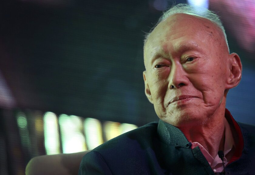 Singapore's former prime minister Lee Kuan Yew attends the Standard Chartered Singapore Forum in Singapore in March 2013.