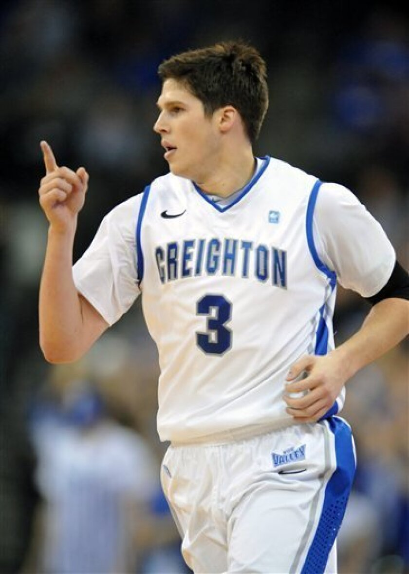 Creighton's Doug McDermott (3) points back to the bench during an NCAA college basketball game against Saint Joseph's, Saturday Dec. 1, 2012, in Omaha, Neb. (AP Photo/Dave Weaver)