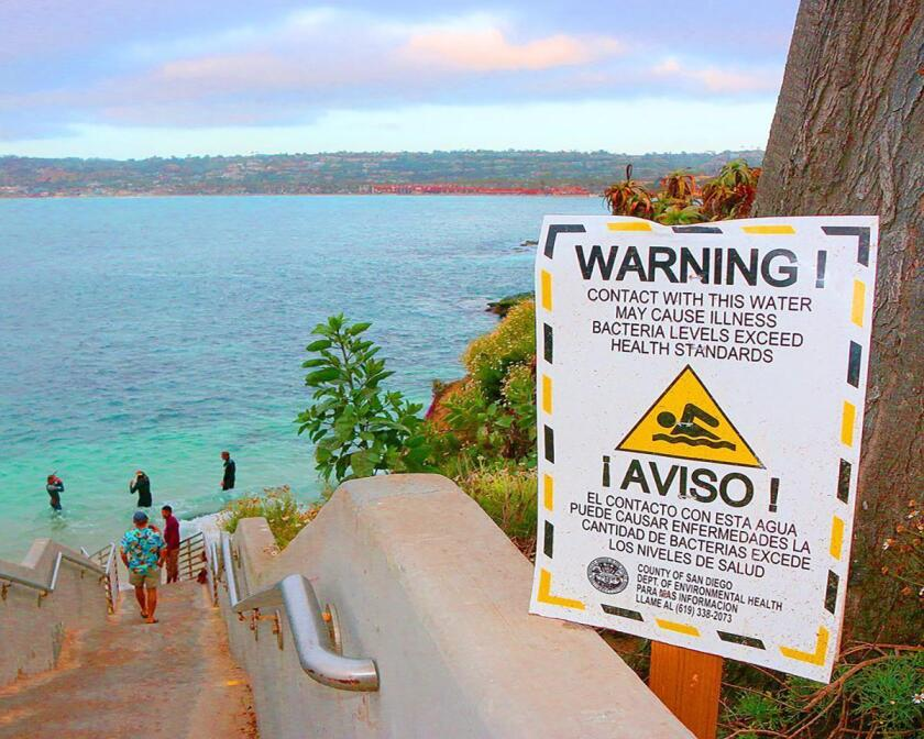 San Diego County health officials posted signs at La Jolla Cove warning swimmers of unsafe bacteria levels in the water for several months in 2016.