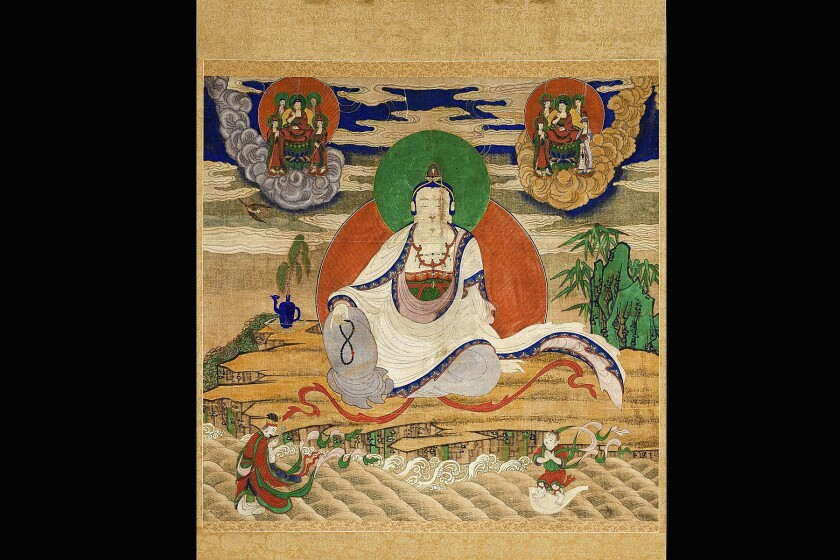 Gwaneum (Avalokiteshvara), the Bodhisattva of Compassion, with Seonjae donja (sudhana) and Donghae Youngwang (the Dragon King of the Eastern Sea), Josen dynasty (1392-1910), late 19th - early 20th century. Hanging scroll, ink, color, and gold on cotton.