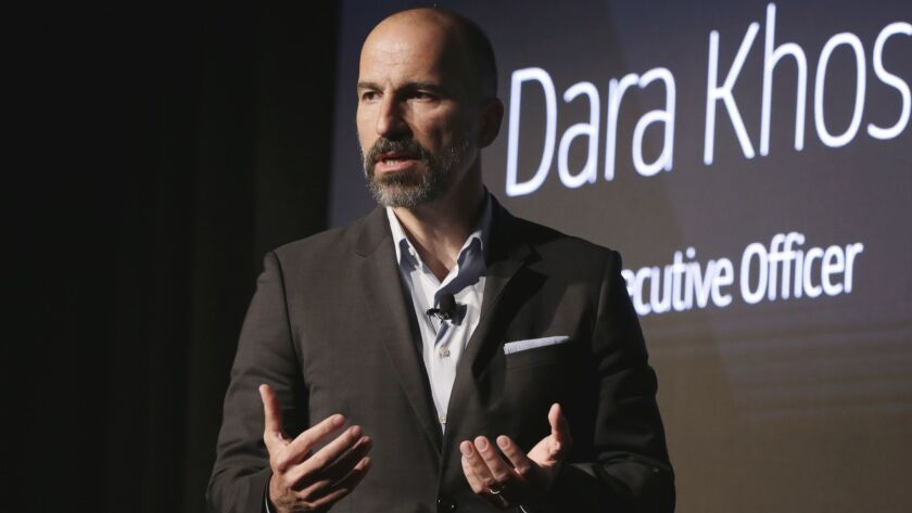 Uber Chief Executive Dara Khosrowshahi speaks during the company's unveiling of new features in New York in September.