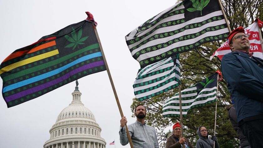 Pro-cannabis activists rally on Capitol Hill on April 24.