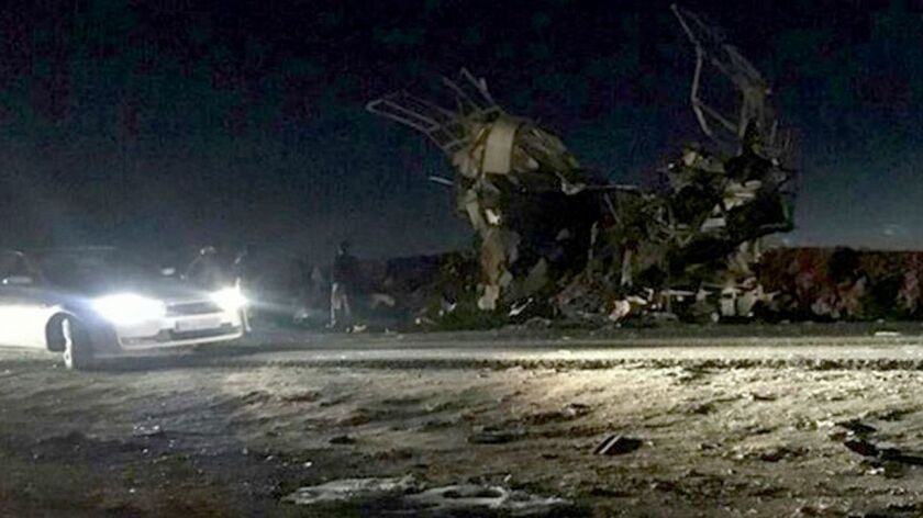 Bus carrying Iranian soldiers attacked by bombing, Khash, Iran (Islamic Republic Of) - 13 Feb 2019