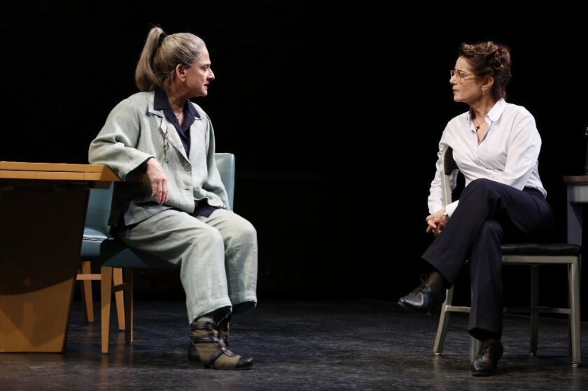 """Patti LuPone, left, and Debra Winger in a scene from David Mamet's new play """"The Anarchist,"""" which opened this week at the John Golden Theatre in New York."""