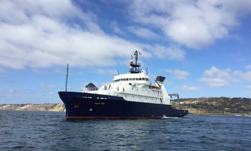 The R/V Sally Ride visited the Scripps Pier area on Friday.