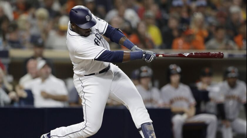 Franmil Reyes hits a home run against the Giants Tuesday.
