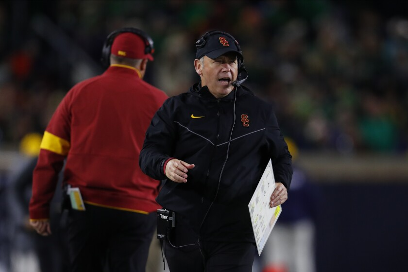 USC defensive coordinator Clancy Pendergast stands on the sideline during the Trojans loss to Notre Dame in October.