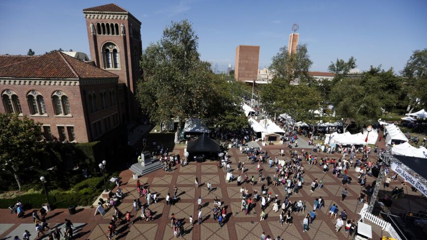 LOS ANGELES, CA - APRIL 18, 2015: People walk through the center of campus during the Los Angeles T