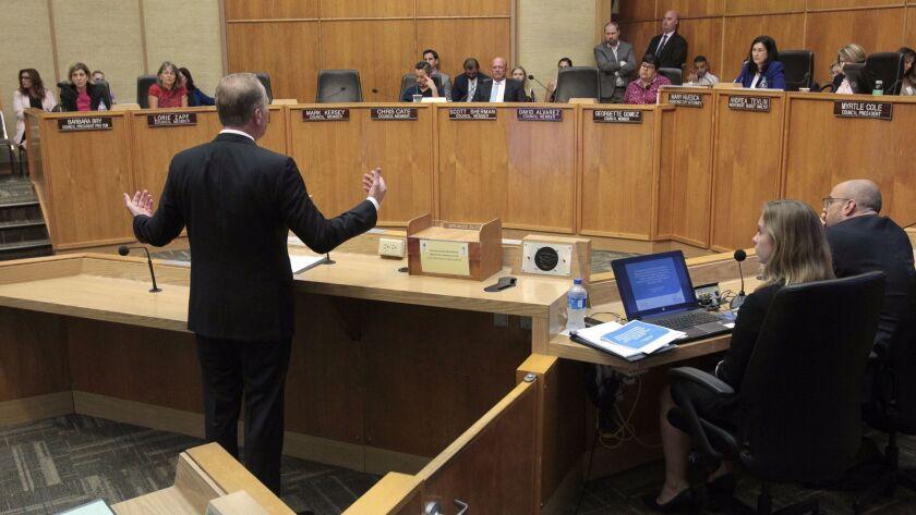 SAN DIEGO, August 9, 2018 | San Diego Mayor Kevin Faulconer speaks to members of the San Diego City