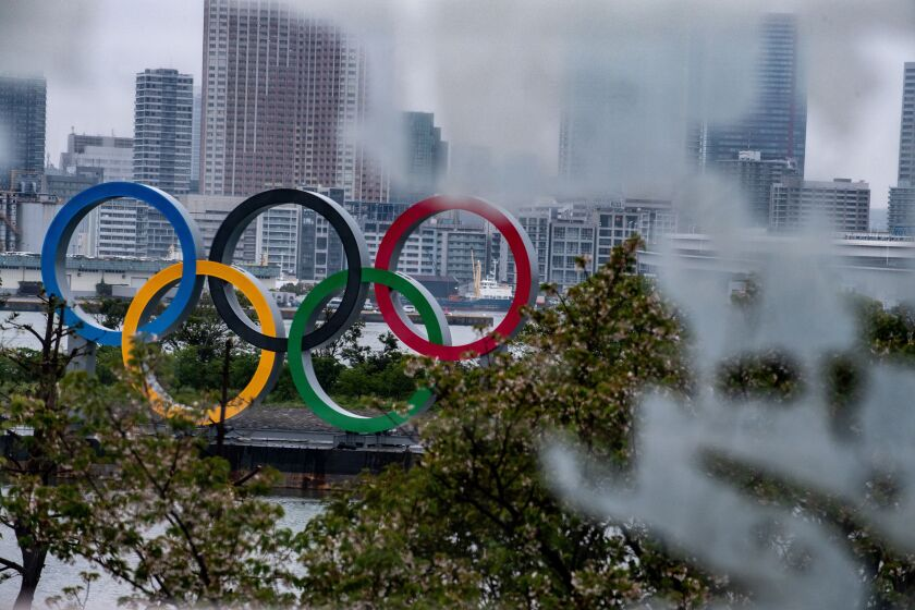 The Olympic rings in Tokyo, which had to postpone the Games.