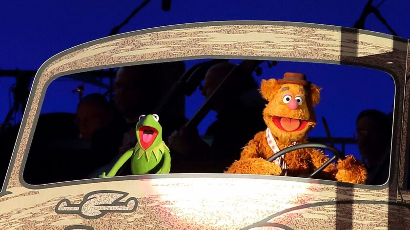 Kermit the Frog and Fozzie Bear at the Hollywood Bowl.