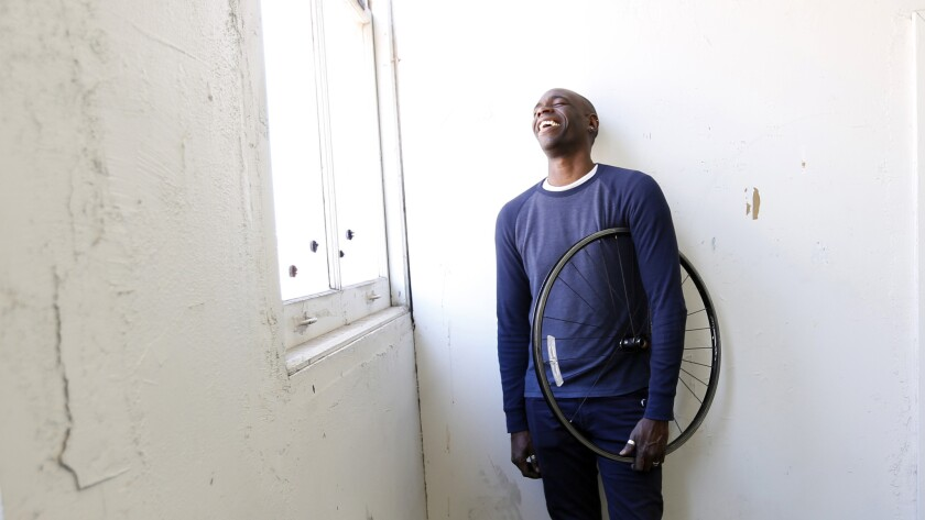 Artist Kori Newkirk in his studio in downtown Los Angeles