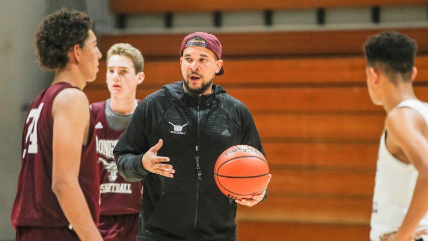 SAN DIEGO, CA January 3rd, 2019 | Rancho Buena Vista High School basketball coach Aaron Abrams talks