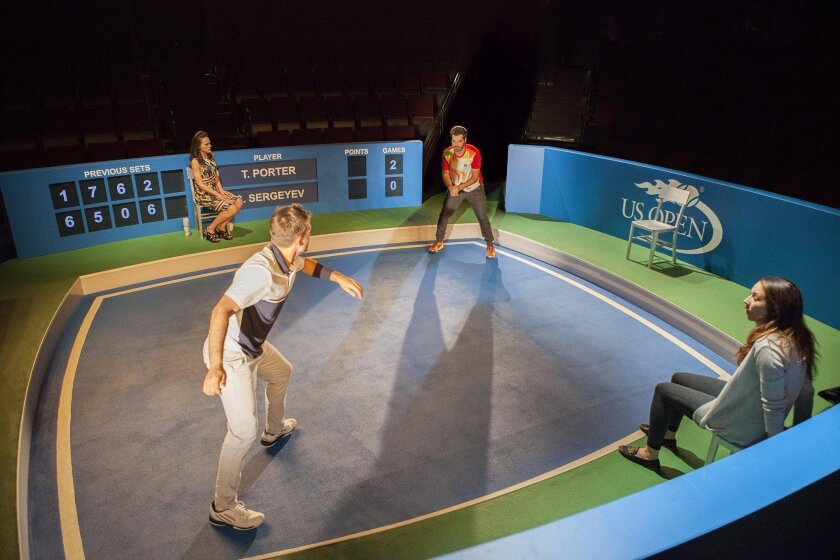 """""""The Last Match"""" at The Old Globe stars, clockwise from top left, Natalia Payne as Galina, Alex Mickiewicz as Sergei, Troian Bellisario as Mallory, and Patrick J. Adams as Tim."""