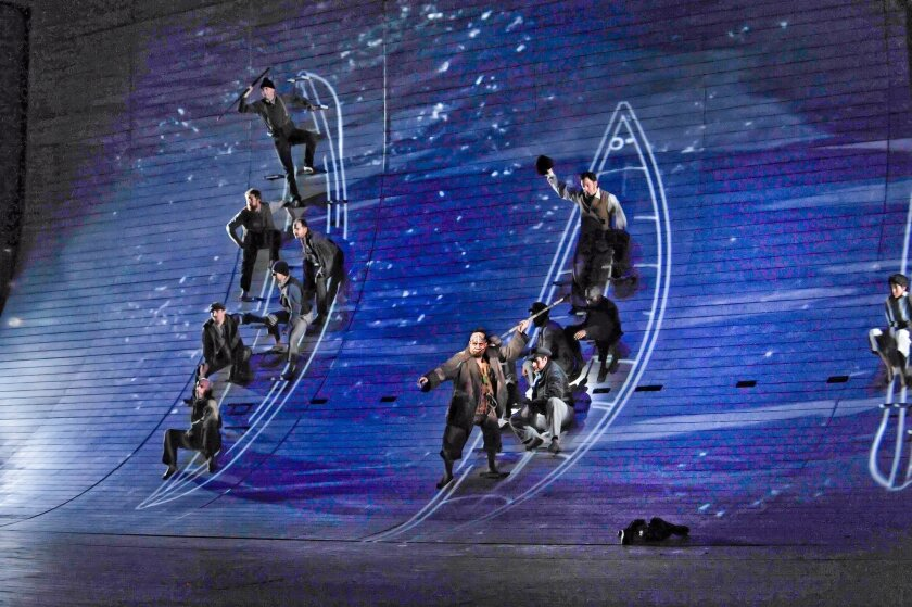 Towering sets and multimedia effects add to the excitement of 'Moby-Dick,coming to San Diego Opera on Feb. 18.  Karen Almond PHOTO,  Courtesy Dallas Opera