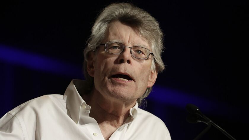 In this June 1, 2017, photo, author Stephen King speaks at Book Expo America in New York. King discu