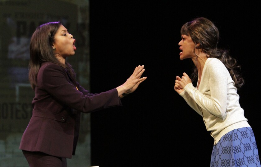 """Taraji P. Henson, left, and Kristy Johnson in the dress rehearsal of the play """"Above the Fold."""""""