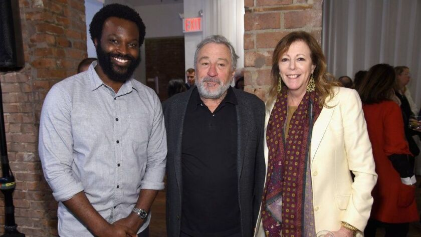 """Faraday Okoro, left, Robert De Niro and Jane Rosenthal attend as AT&T and Tribeca host the second annual luncheon for """"Untold Stories."""""""