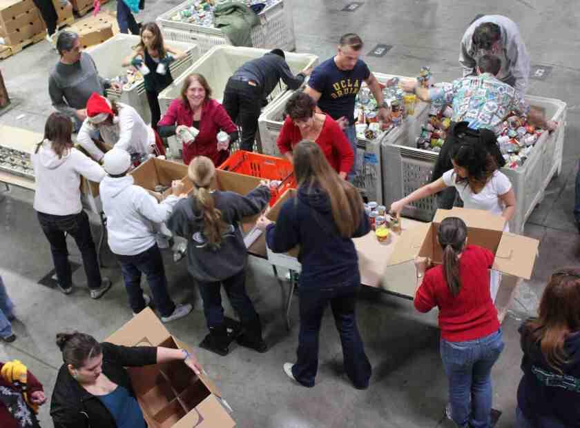Volunteers sort holiday meal boxes