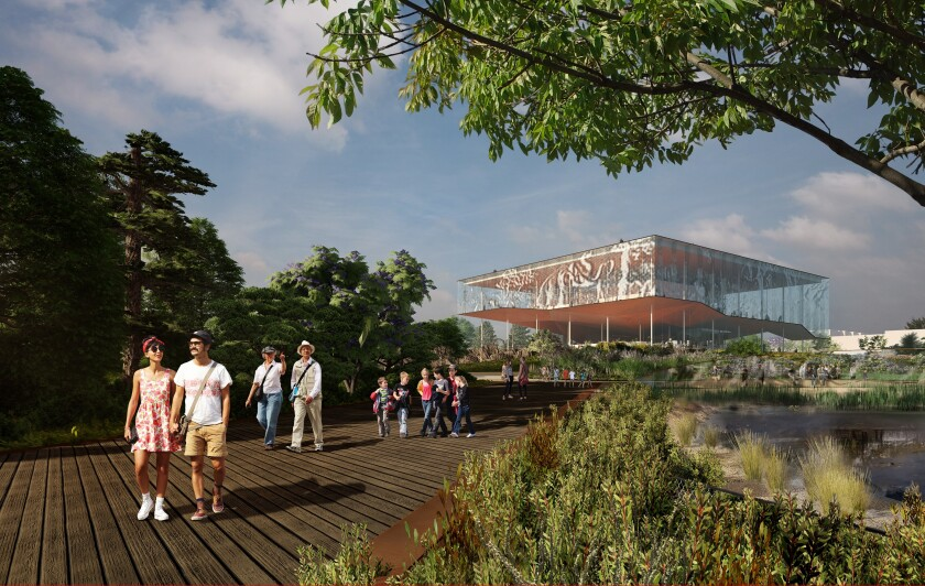 A rendering by Danish architecture firm Dorte Mandrup features an additional story on top of the Page Museum and boardwalk paths to guide visitors around the La Brea Tar Pits.