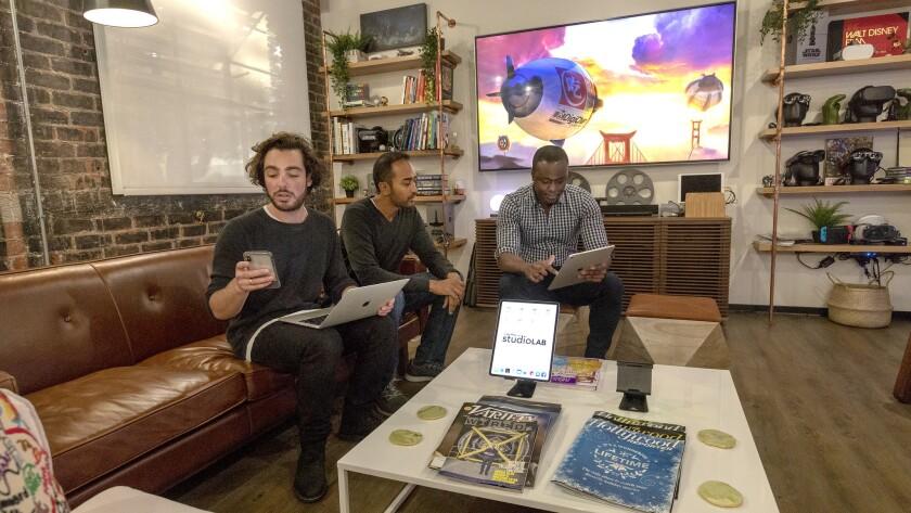 BURBANK, CA - NOVEMBER 19, 2018 - Members of the StudioLAB team gathered at the living room demo spa