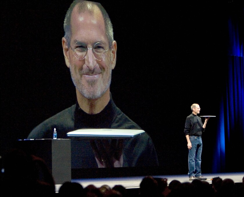 Steve Jobs, pictured introducing the Macbook Air in San Francisco in 2008.