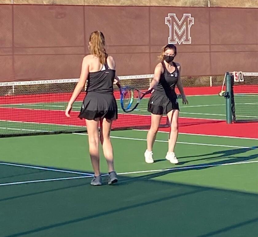 Ramona High girls tennis players Michaela Pierce and Jami Sothman won a 6-1 set in March 5 match against Monte Vista.