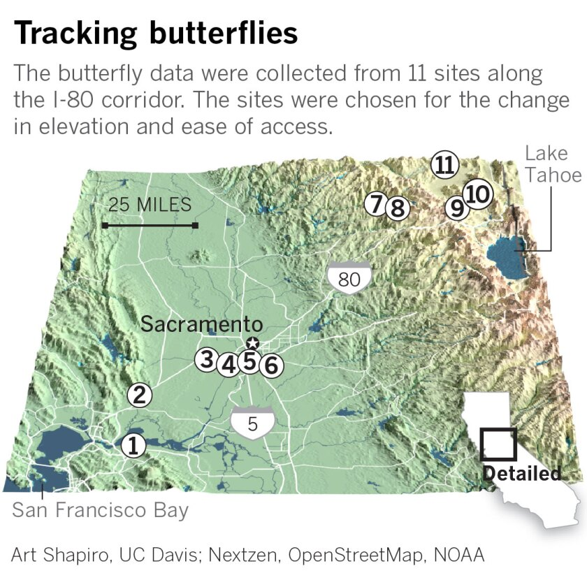 Map of northern California locating 11 sites where butterfly data was collected.