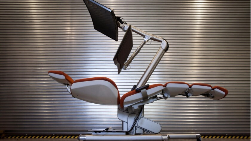 A preproduction Altwork Station, a chair and desk envisioned for tech workers that was developed in secret for five years by Che Voigt.