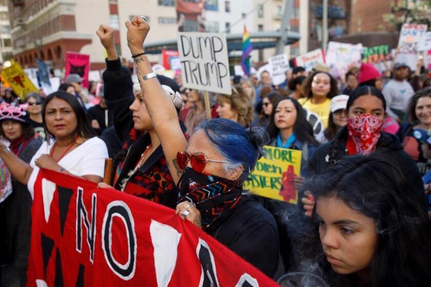 Native American activist Lydia Ponce (C) joins thousands of demonstrators at the 3rd annual Women's March in Los Angeles, California, USA, 19 January 2019. EFE/EPA