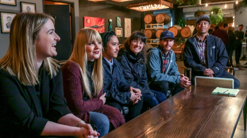 From left, Victoria Zamd, Patti Larson, Oliver Dela Cruz, Leishelle Landolt, Andy Cash and Tim Mensalvas at Booze Brothers Brewing in Vista. The longtime friends serve on a foundation named for their late friend Forrester David Cravens, who died in a 2011 car accident.