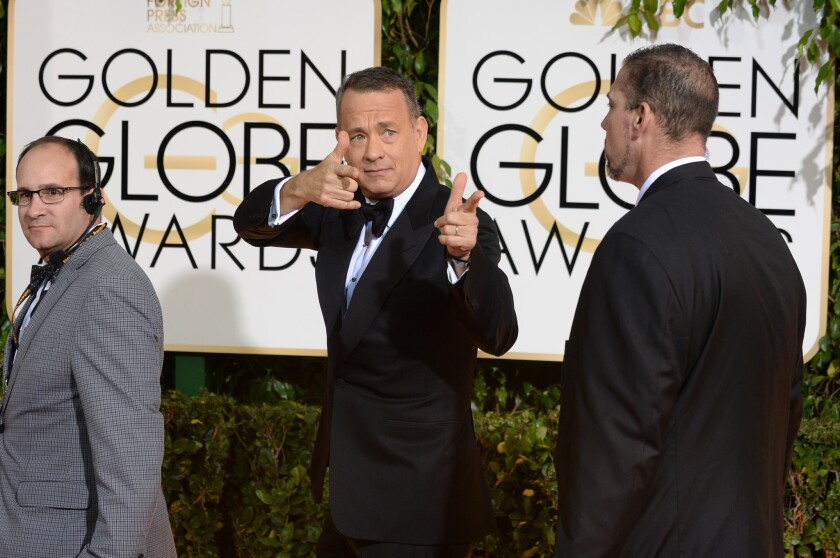 Tom Hanks makes a memorable entrance at the 2014 Golden Globe Awards. The actor will be given the Cecil B. DeMille Award during the 2019 Golden Globes broadcast on Sunday.