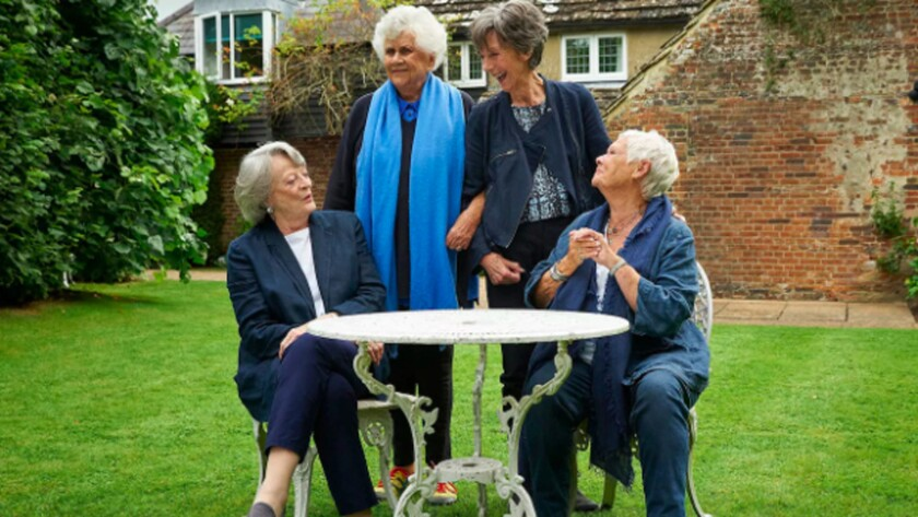 """Maggie Smith, left, Joan Plowright, Eileen Atkins and Judi Dench in the documentary """"Tea with the Dames."""""""