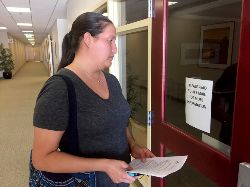 ITT Tech student Nancy Valdez, 27, arrives at Torrance campus to find it closed.