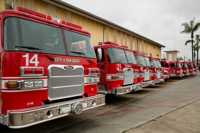Mayor Kevin Faulconer, San Diego Fire Department Chief Colin Stowell and other SDFD brass showed off ten new fire apparatus.